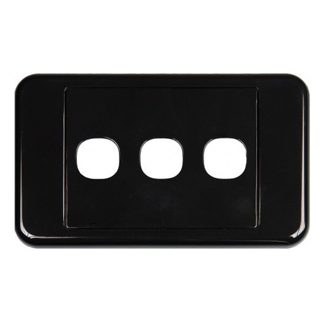 CLIPSAL BLACK  3 WAY INSERT WALL PLATE