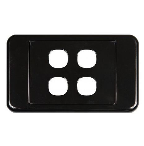 CLIPSAL BLACK  4 WAY INSERT WALL PLATE